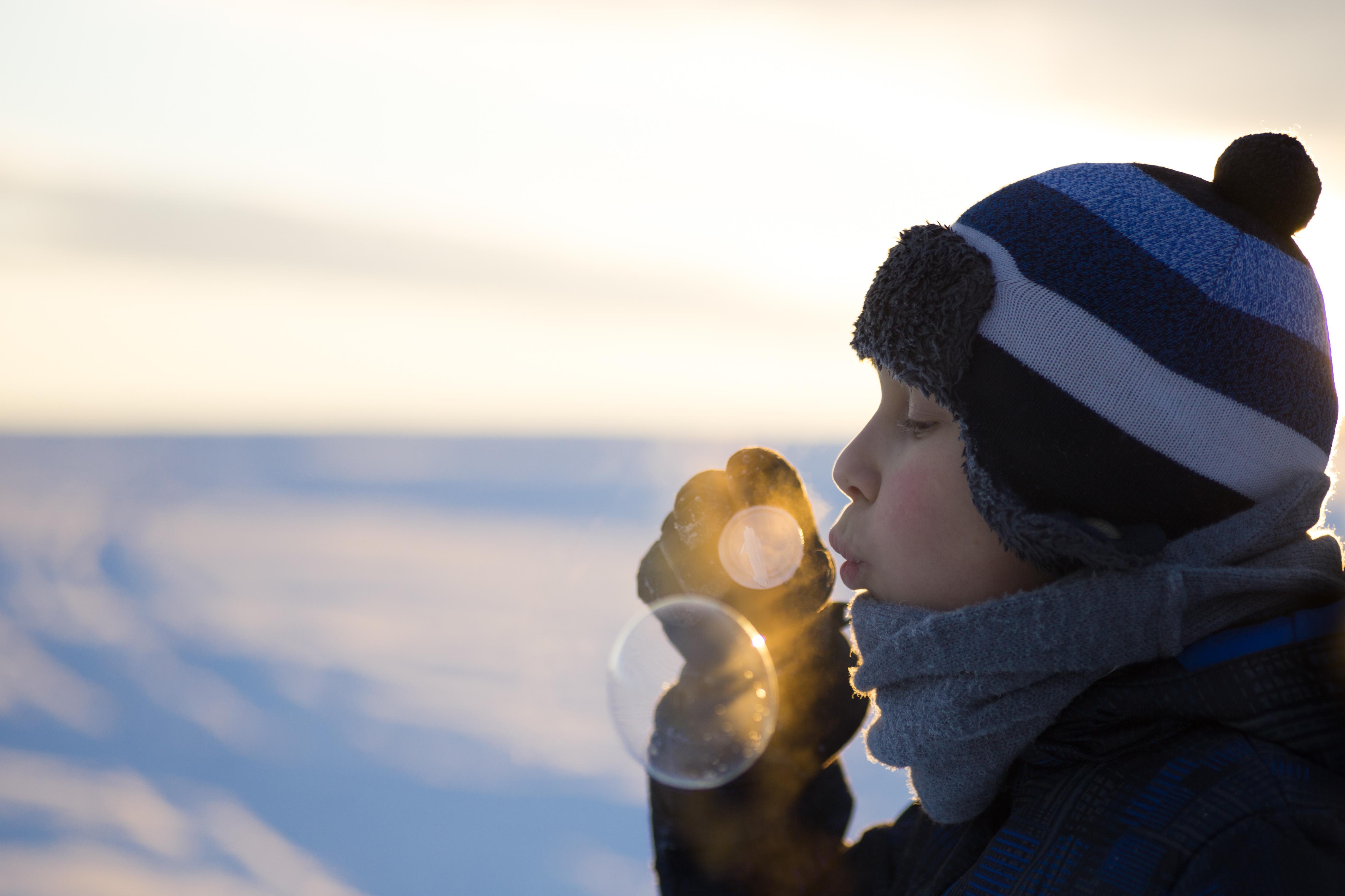 Seifenblasen im Winter