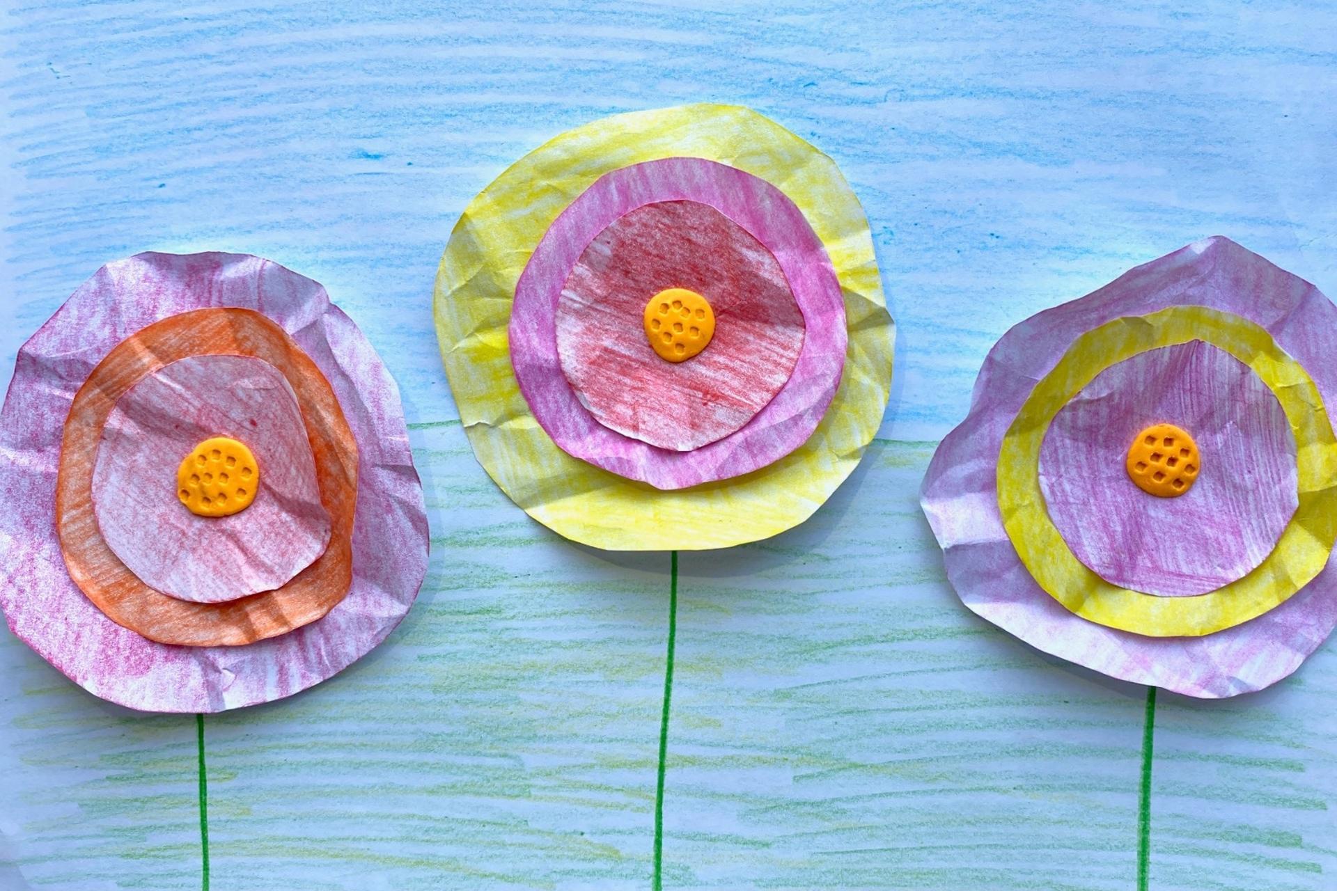 Blumen basteln mit Kleinkindern